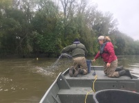 Vaske and Kayla Stamplfe, Minnesota River Technician, setting nets